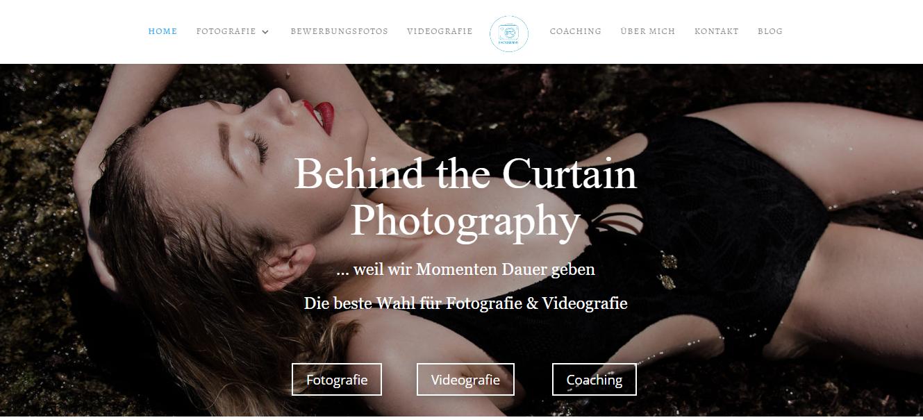 Titel Bild von der Webseite BTC Photography ; Überschrift mit Serifenschrift