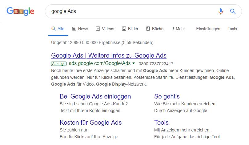 Google Ads Anzeige auf Google über Google Ads